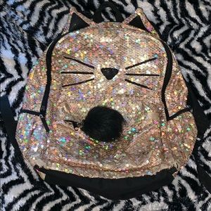 Justice Gold Sequin Cat Kitty Full Size backpack